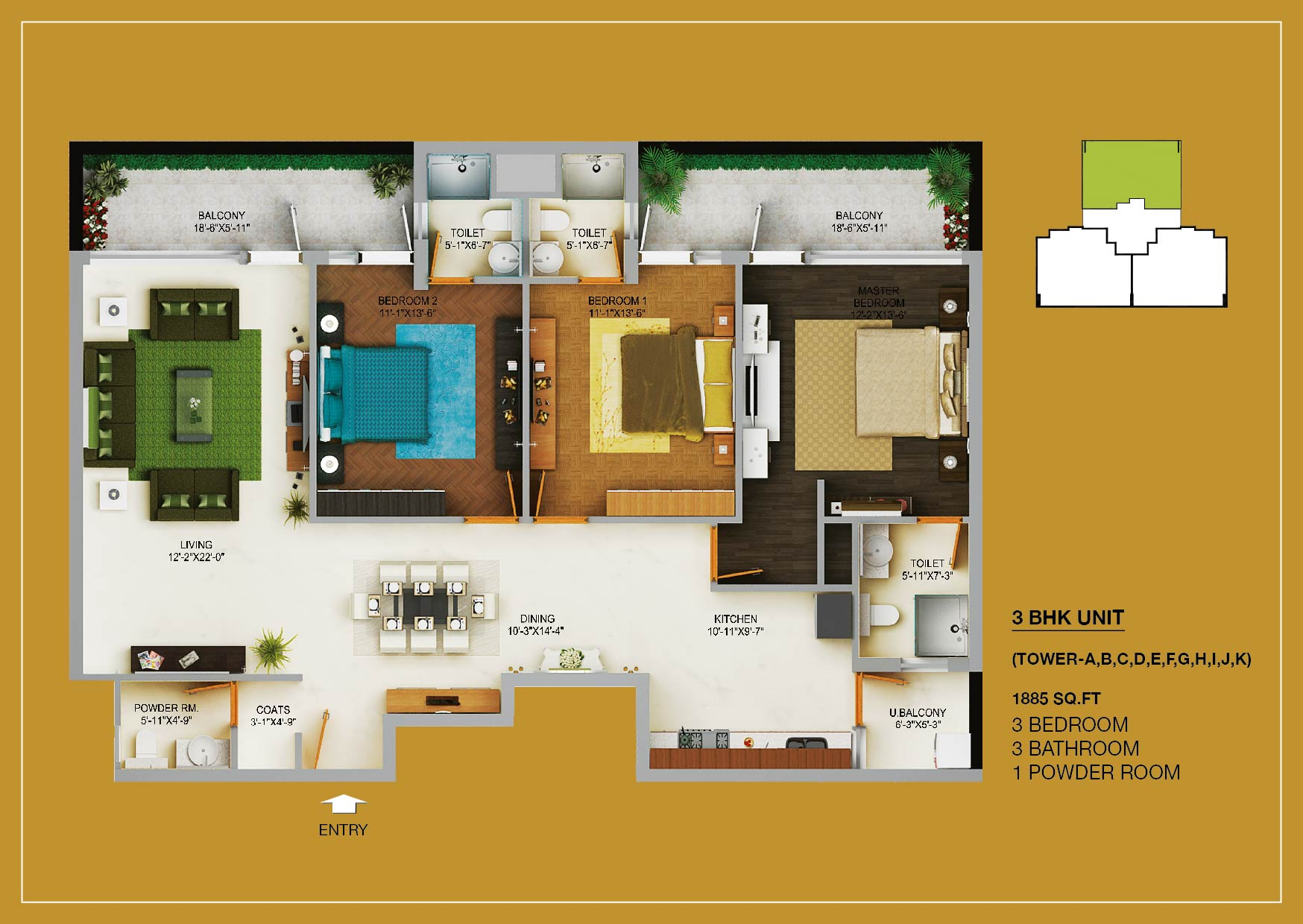 3BHK LAYOUT PLAN - 1885 SQ.FT.