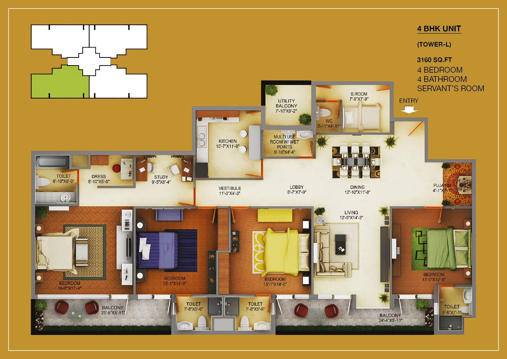 4BHK+S LAYOUT PLAN - 3160 SQ.FT.