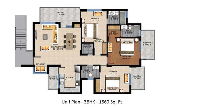 Sushma_Crescent3_BHK1860_sqft_Floor_Plan