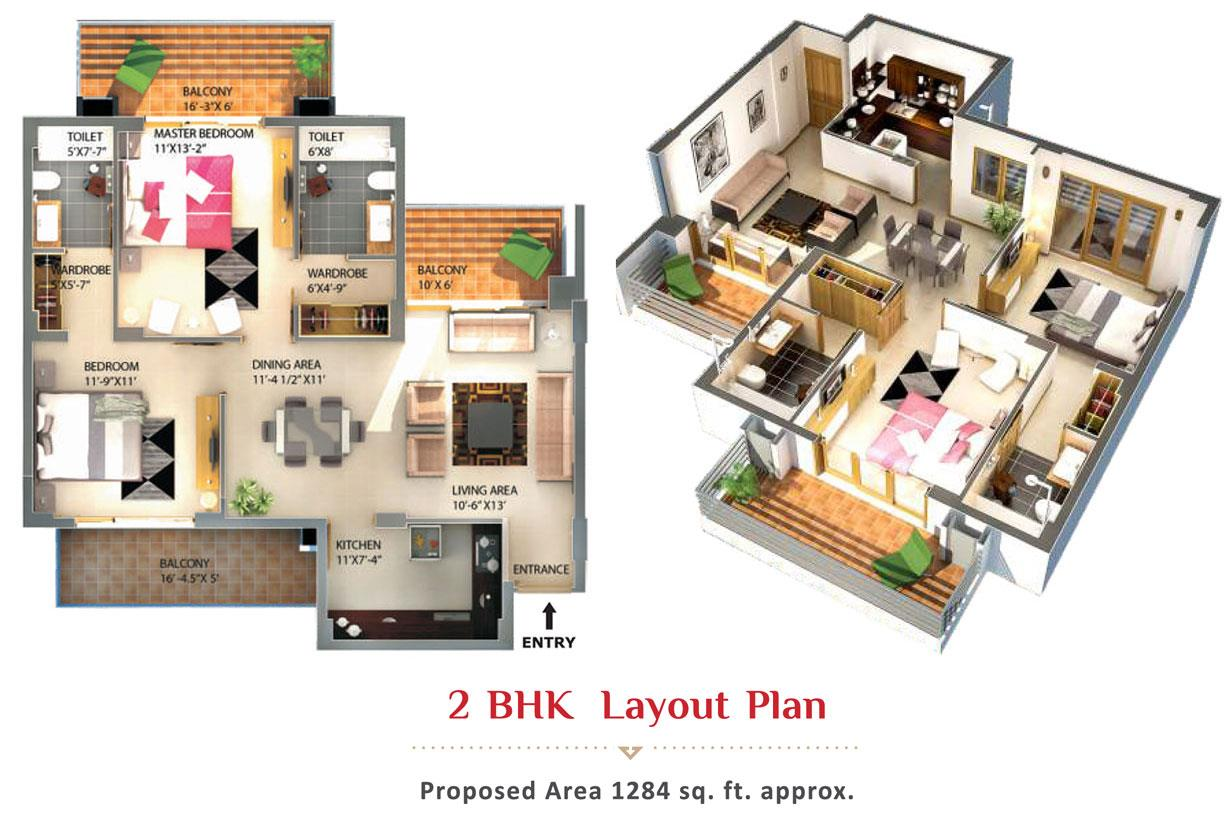 2-BHK-Eminence layout plan