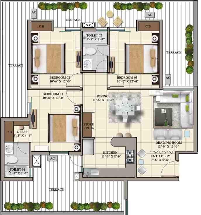 High-Land-Park-1450-3BHK-Floor-plan