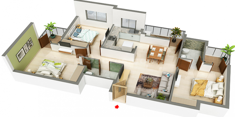 floor plan 3 bhk 1500 sq. ft.