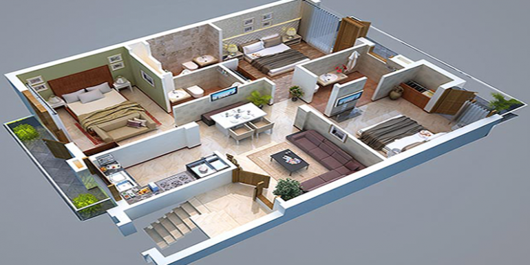 3bhk isometric view GBP camellia