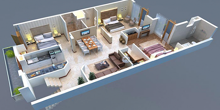 3bhk isometric view GBP camellia kharar