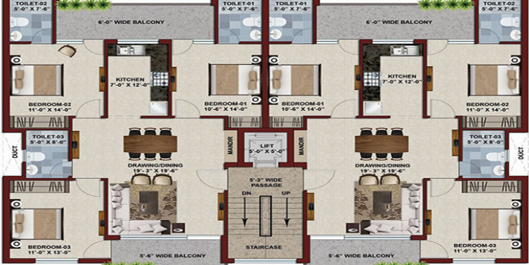 Ubber mews gate 3 bhk floor plan