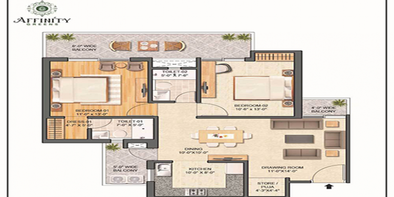 2-BHK 1250 Sq. Ft