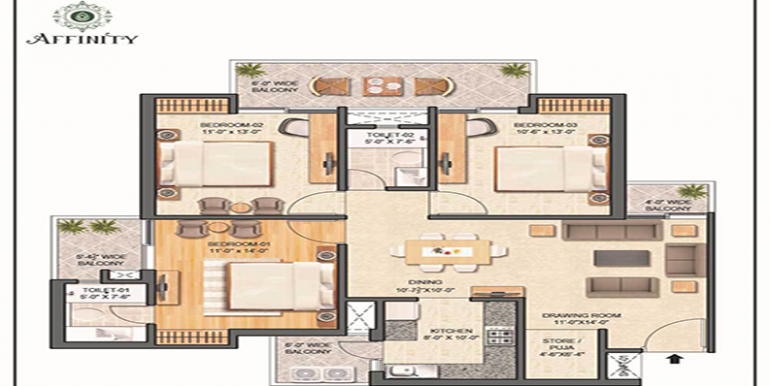 3-BHK 1440 sq. ft