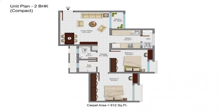 612 sq. Ft. 2 bhk floor plan