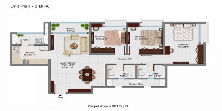 981 Square feet 3 bhk floor plan