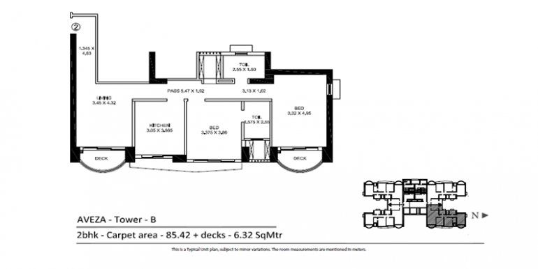 TATA Aveza 2 BHK Tower B Floor Plan