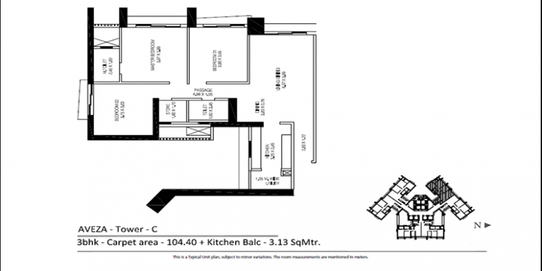 TATA Aveza 3 BHK Tower C Floor Plan