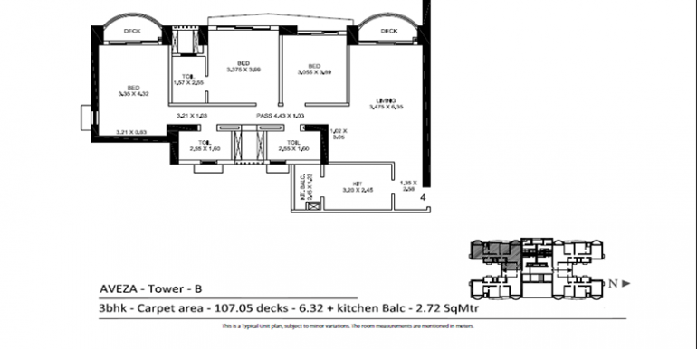 Tata Housing Aveza Tower B 3 BHK Floor plan Mumbai