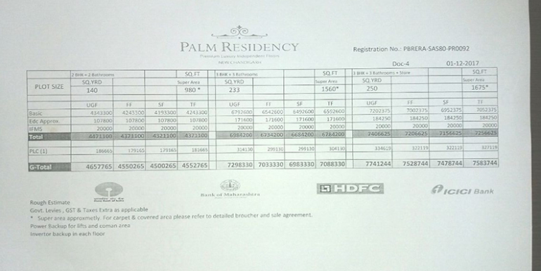 payment plan palm residency