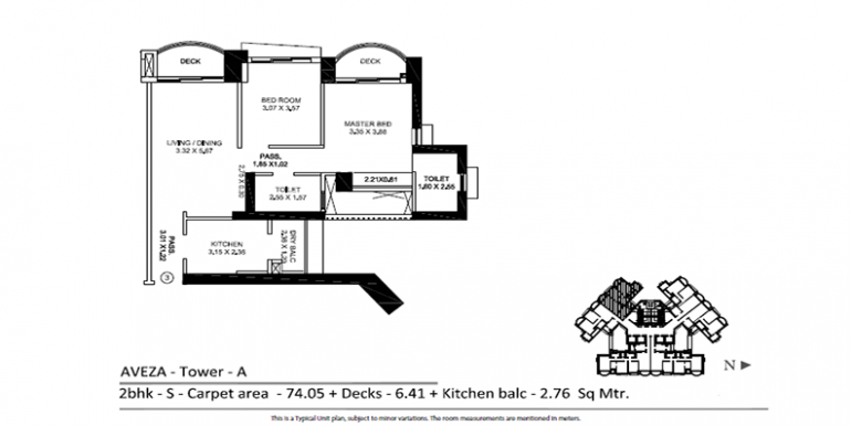 tata aveza floor plan 2 bhk