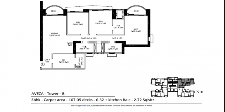 tata aveza tower b floor plan 3 bhk